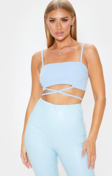 Woman in blue crop top co-ord