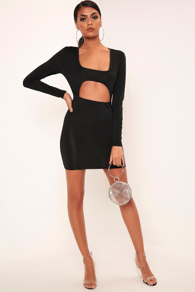 Black Long Sleeve Square Neck Cut Out Mini Dress